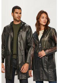 Rains - Kurtka przeciwdeszczowa 1269 Transparent Hooded Coat. Kolor: czarny. Materiał: tkanina. Wzór: gładki