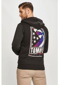 Czarna bluza rozpinana Tommy Jeans z kapturem, casualowa, na co dzień, z nadrukiem