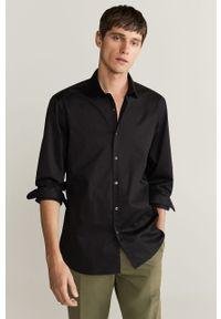 Czarna koszula Mango Man z włoskim kołnierzykiem, elegancka