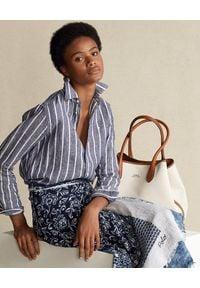 Ralph Lauren - RALPH LAUREN - Niebieska koszula w prążki. Typ kołnierza: polo. Kolor: biały. Materiał: len. Długość rękawa: długi rękaw. Długość: długie. Wzór: prążki. Sezon: wiosna. Styl: klasyczny, elegancki #4