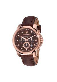 Brązowy zegarek Maserati