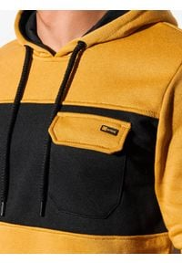 Ombre Clothing - Bluza męska z kapturem B1072 - musztardowa - XXL. Typ kołnierza: kaptur. Kolor: żółty. Materiał: poliester, bawełna