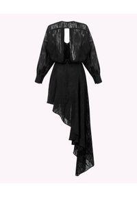 MARLU - Czarna sukienka o asymetrycznym kroju. Okazja: na randkę. Kolor: czarny. Materiał: tkanina, jedwab, szyfon. Długość rękawa: długi rękaw. Typ sukienki: asymetryczne. Styl: wizytowy, elegancki. Długość: midi