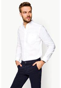 Biała koszula casual Lancerto krótka, w kolorowe wzory, na lato, ze stójką
