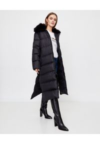 YVES SALOMON PARIS - Czarny płaszcz puchowy. Okazja: na co dzień, na spacer. Kolor: czarny. Materiał: puch. Długość rękawa: długi rękaw. Długość: długie. Wzór: aplikacja. Sezon: zima. Styl: casual