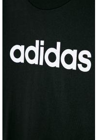 Czarny t-shirt Adidas z nadrukiem, na co dzień, casualowy