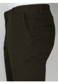 Chiao - Casualowe Spodnie Męskie, 100% BAWEŁNA - Chinosy, Zwężane Nogawki, Brąz. Okazja: na co dzień. Kolor: beżowy, brązowy, wielokolorowy. Materiał: bawełna. Styl: casual