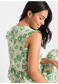Sukienka z falbaną bonprix zielony w kwiaty. Kolor: zielony. Wzór: kwiaty. Styl: elegancki