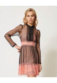TwinSet - TWINSET - Mini sukienka z tiulu. Kolor: czarny. Materiał: tiul. Długość rękawa: na ramiączkach. Wzór: koronka. Styl: rockowy. Długość: mini