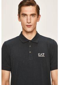 Niebieska koszulka polo EA7 Emporio Armani z nadrukiem, na co dzień, krótka