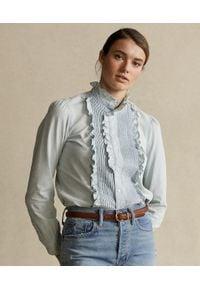 Ralph Lauren - RALPH LAUREN - Koszula z falbanami. Typ kołnierza: polo. Kolor: niebieski. Materiał: bawełna. Długość rękawa: długi rękaw. Długość: długie