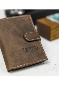 BUFFALO WILD - Skórzany portfel męski brązowy Buffalo Wild RM-07L-HBW BROWN. Kolor: brązowy. Materiał: skóra