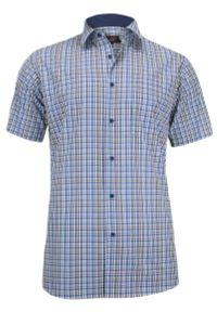 Niebieska elegancka koszula Jurel w kratkę, krótka, z krótkim rękawem, na spotkanie biznesowe