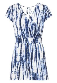 Kombinezon z batikowym nadrukiem bonprix niebiesko-biel wełny z nadrukiem. Kolor: niebieski. Materiał: wełna. Wzór: nadruk