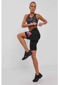 Adidas - adidas - Szorty. Stan: podwyższony. Kolor: czarny. Wzór: nadruk