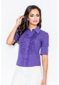 Fioletowa koszula Figl z falbankami, elegancka