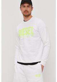 Diesel - Bluza bawełniana. Okazja: na co dzień. Kolor: biały. Materiał: bawełna. Wzór: nadruk. Styl: casual
