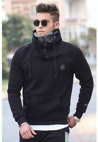 IVET - Męska bluza KLAVDIO BLACK. Okazja: na co dzień. Kolor: czarny. Materiał: materiał. Wzór: nadruk. Styl: casual, elegancki