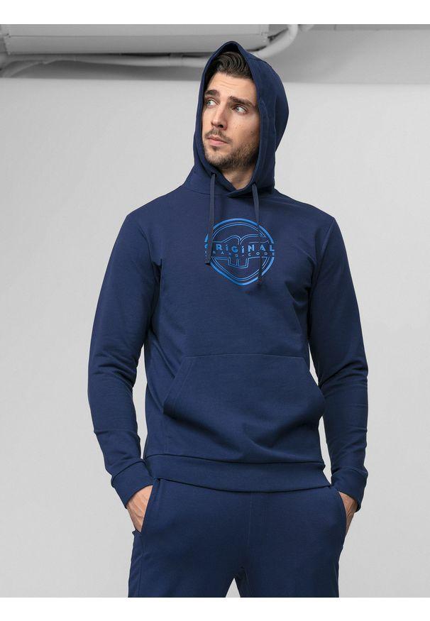 Niebieska bluza nierozpinana 4f na co dzień, z kapturem