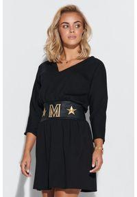 Makadamia - Sukienka z Talią Podkreśloną Paskiem - Czarna. Kolor: czarny. Materiał: wiskoza, elastan