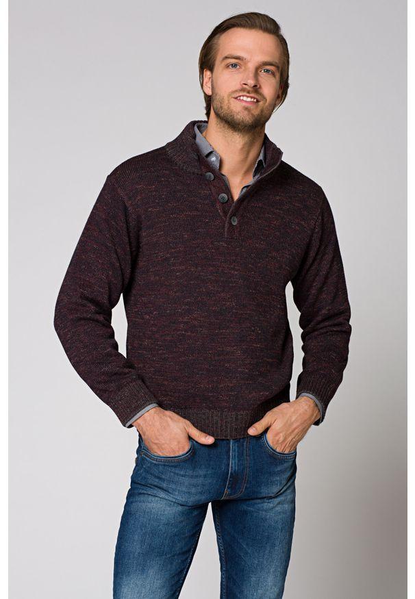 Czerwony sweter Lancerto melanż, na zimę, ze stójką