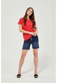 MOODO - Szorty jeansowe. Stan: podwyższony. Materiał: jeans. Wzór: gładki