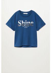 Niebieska bluzka z krótkim rękawem Mango Kids z aplikacjami, krótka, na co dzień