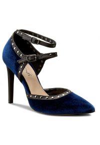 Niebieskie półbuty Carinii na szpilce, na średnim obcasie, z aplikacjami, eleganckie