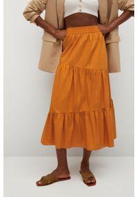 Pomarańczowa spódnica mango z podwyższonym stanem, na co dzień, gładkie, casualowa