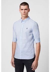 Niebieska koszula AllSaints z klasycznym kołnierzykiem, krótka, na co dzień