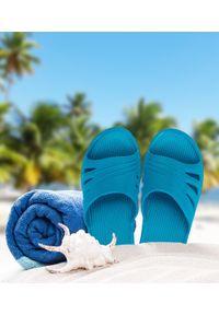 REALPAKS - Klapki damskie Realpaks SLJ-13 Niebieskie. Okazja: na plażę. Kolor: niebieski. Materiał: tworzywo sztuczne. Sezon: lato. Obcas: na obcasie. Wysokość obcasa: niski