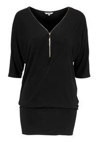 Happy Holly Tunika Perla Czarny female czarny 40/42. Kolor: czarny. Materiał: jersey, materiał. Typ sukienki: dopasowane