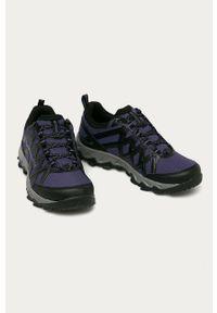Fioletowe buty trekkingowe columbia z okrągłym noskiem, z cholewką
