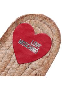 Srebrne klapki Love Moschino z aplikacjami