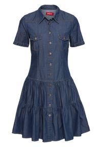 Sukienka dżinsowa z guzikami, krótki rękaw bonprix niebieski. Kolor: niebieski. Długość rękawa: krótki rękaw