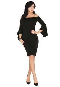 Merribel - Czarna Ołówkowa Sukienka z Rozkloszowanym Rękawem. Kolor: czarny. Materiał: bawełna, poliester. Typ sukienki: ołówkowe