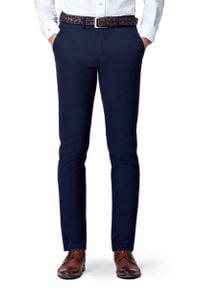 Lancerto - Spodnie C.Granat Chino Nestor. Materiał: elastan, bawełna, materiał. Wzór: kolorowy. Styl: elegancki, sportowy