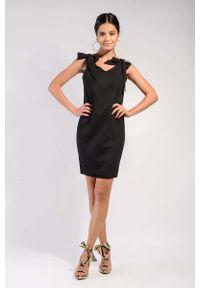 Czarna sukienka wizytowa Nommo prosta, z kokardą, wizytowa