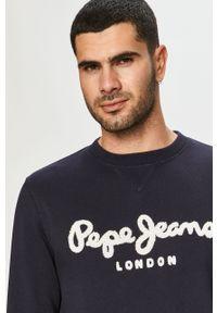 Niebieska bluza nierozpinana Pepe Jeans bez kaptura, casualowa, na co dzień, z aplikacjami
