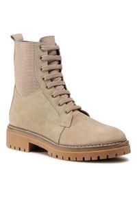 Beżowe buty trekkingowe QUAZI z cholewką, klasyczne