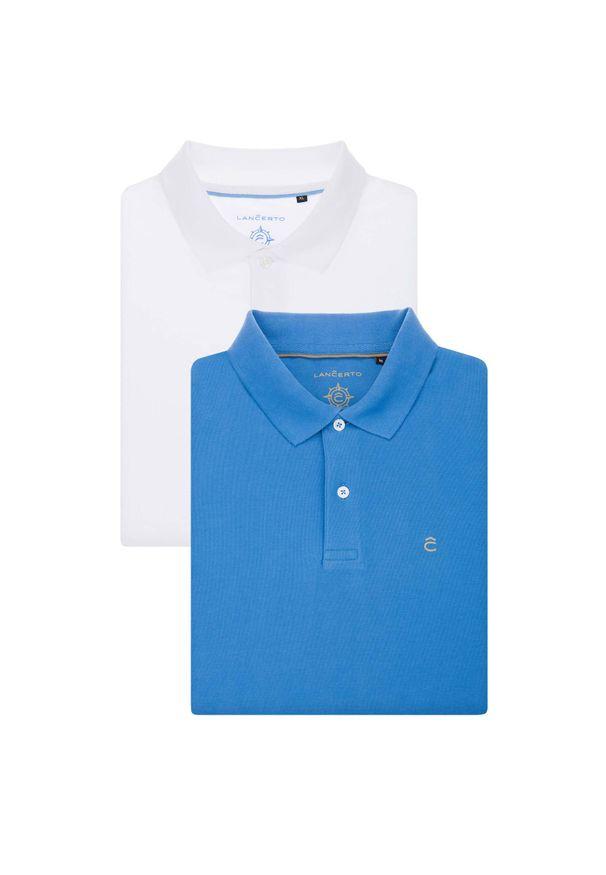 Lancerto - Zestaw 2 Koszulek Polo. Okazja: na urodziny, na co dzień. Typ kołnierza: polo. Materiał: bawełna, tkanina, materiał. Wzór: ze splotem, gładki. Styl: klasyczny, casual