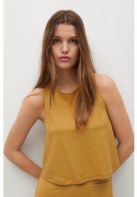 Żółta bluzka mango na co dzień, bez rękawów, gładkie
