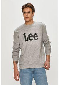 Szara bluza nierozpinana Lee bez kaptura, na co dzień, z nadrukiem, casualowa