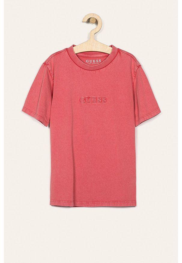 Różowy t-shirt Guess Jeans z okrągłym kołnierzem, z aplikacjami, na co dzień, casualowy
