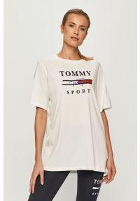 Biała bluzka Tommy Sport z nadrukiem, sportowa, na co dzień