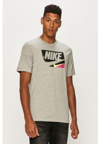 Szary t-shirt Nike Sportswear na co dzień, casualowy, z nadrukiem, z okrągłym kołnierzem