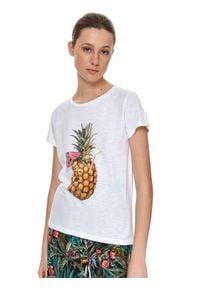 TOP SECRET - T-shirt damski z nadrukiem, z ananasem. Kolor: biały. Materiał: tkanina, bawełna. Długość rękawa: krótki rękaw. Długość: krótkie. Wzór: nadruk. Sezon: lato. Styl: wakacyjny