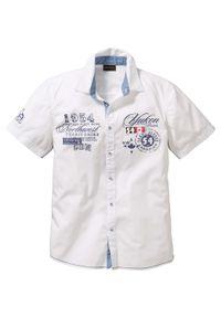 Biała koszula bonprix z aplikacjami, krótka
