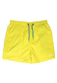 Żółte spodnie Pako Jeans z napisami, na plażę