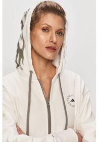 Biała bluza rozpinana Adidas by Stella McCartney casualowa, na co dzień, z kapturem